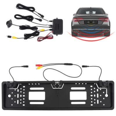 Rendszámtábla tartóba integrált tolatóradar és kamera készlet