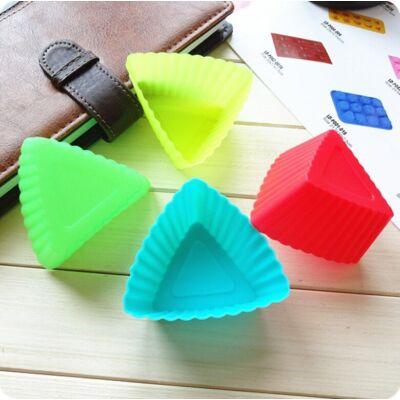 12 részes színes szilikon muffin sütőforma - háromszög