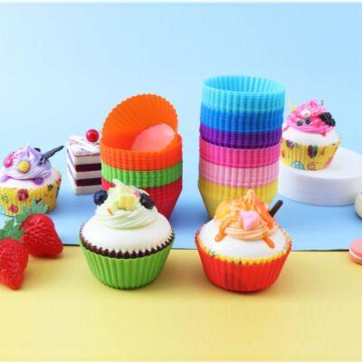 12 részes színes szilikon muffin sütőforma - kerek