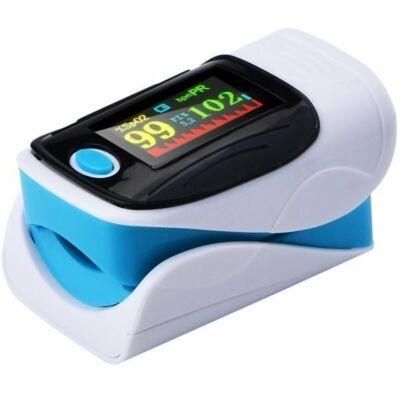 Ujjra csiptethetó digitális pulzoximéter, véroxigénmérő, pulzusmérő színes kijelzővel, kék
