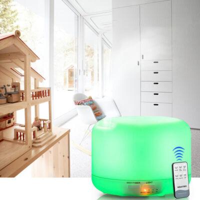 Színváltós, távirányítós aromaterápiás párologtató, ultrahangos párásító, illatosító diffúzor
