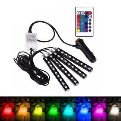Univerzális autós LED lábtér világítás, hangulatvilágítás készlet, távirányítóval