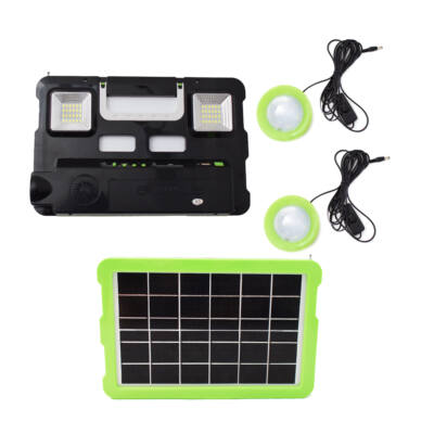 Multifunkciós hordozható szolár készlet 2db lámpával, USB töltővel, zenelejátszóval, 4 akkuval, GD-7740