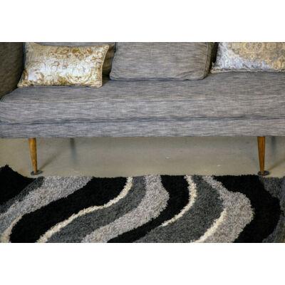Shaggy szőnyeg, szürke hullám mintás, Ava, 120x170cm, 3cm szálhossz