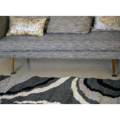 Shaggy szőnyeg, íves szürke mintával, Sophia, 120x170cm, 3cm szálhossz