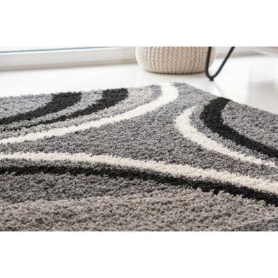 Shaggy szőnyeg, íves szürke mintával, Sophia, 120x170cm