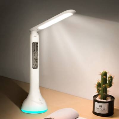 Akkus asztali LED lámpa digitális naptárral, órával, hőmérővel, ébresztővel