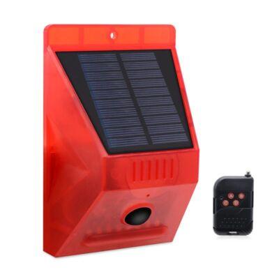 Távirányítós, napelemes vezeték nélküli riasztó mozgásérzékelővel, jelzőfénnyel, szirénával