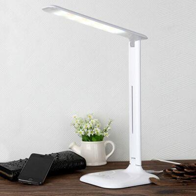 Állítható fényerejű asztali LED lámpa hálózati adapterrel, fehér