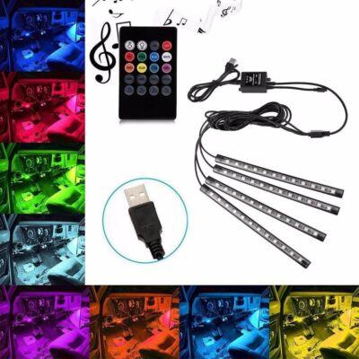 Univerzális autós USB LED lábtér világítás, otthoni hangulatvilágítás készlet, távirányítóval