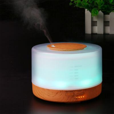 Nagy kapacitású fa hatású aromaterápiás párologtató, illatosító távirányítóval, 700ml - henger, világos