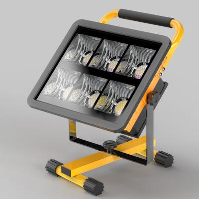 Nagy teljesítményű állványos hordozható LED reflektor, munkalámpa, napelemmel