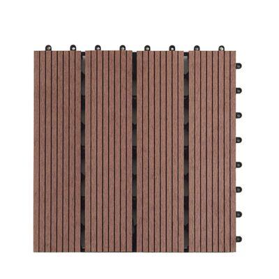 WPC teraszburkolat kültéri járólap 30x30x2 cm sötétbarna összepattintható, gondozásmentes