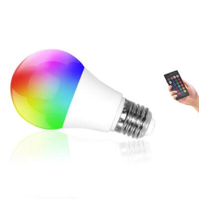 Távirányítós RGBW LED 6W  E27 izzó színes és fehér fénnyel