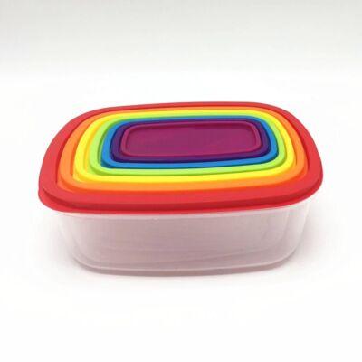 Falcon Rainbow színes, 7+7 részes ételtároló doboz készlet, téglalap