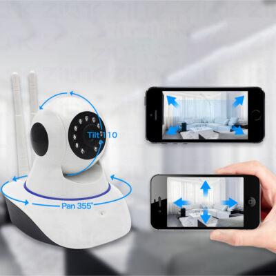 Távolról vezérelhető éjjellátó WiFi IP HD kamera forgatható és dönthető fejjel