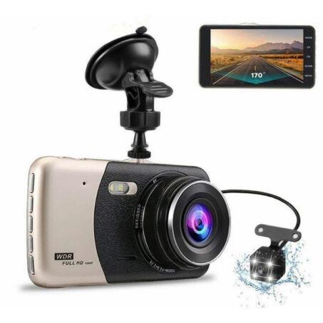 FullHD 1080P autós menetrögzítő kamera tolatókamerával, beépített G-szenzor és LED fény