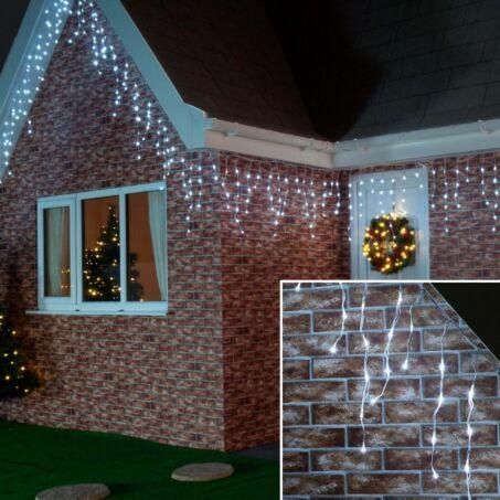 180 LED-es 8 programos karácsonyi jégcsap fényfüzér, izzósor, 8,5 m - hidegfehér