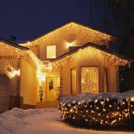 180 LED-es karácsonyi jégcsap fényfüzér, izzósor, 8,5 m - melegfehér