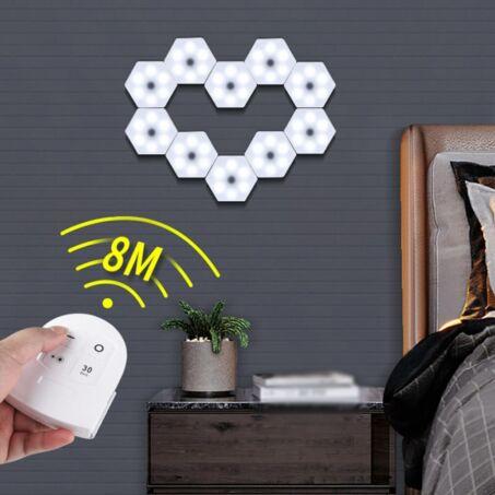Hatszög alakú távirányítós LED világítás készlet, 3db