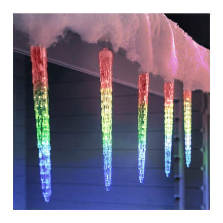 8 részes, színes kültéri olvadó jégcsap fényfüzér, ünnepi dekoráció, 8x50cm