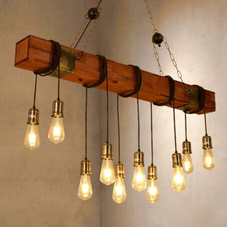 Loft stílusú fából készült nagyméretű függőlámpa 10 db LED körtével, szerelékekkel