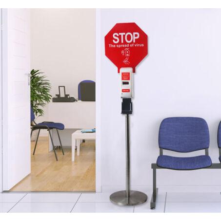 Higiéniai pont, érintésmentes álló szappan- és fertőtlenítő adagoló megállító táblával - 158 cm
