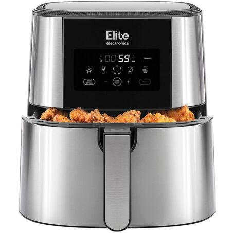 Elite® olaj nélküli forró levegős fritőz digitális kijelzővel, elegáns rozsdamentes acél burkolattal 1800W, 8 l kapacitás + receptkönyv