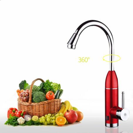 Giovanni prémium átfolyós vízmelegítő csaptelep, piros, alsó bekötésű 3600W