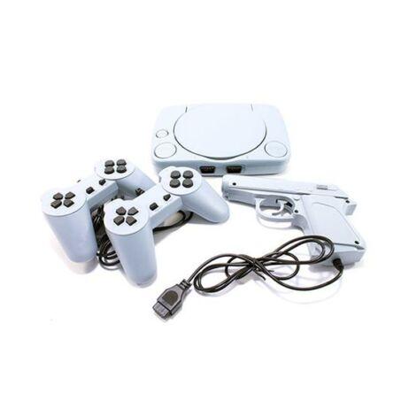 Retro játékkonzol előre telepített játékokkal, kontrollerekkel, pisztollyal