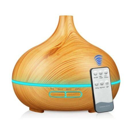Fa hatású aromaterápiás párologtató, illatosító, bluetooth hangszóróval és távirányítóval - világos