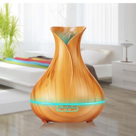 Fa hatású távirányítós óriás aromaterápiás párologtató, ultrahangos párásító, illatosító, 550 ml - váza