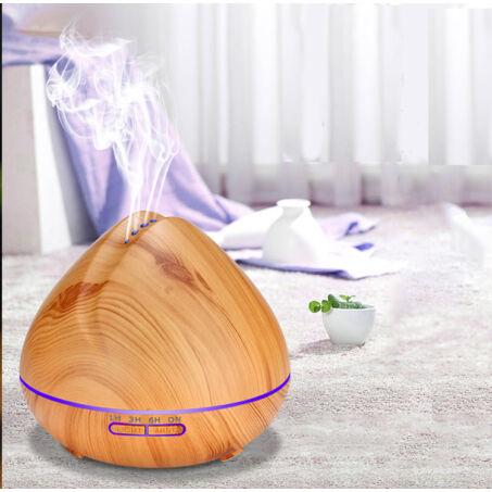 Fa hatású aromaterápiás párologtató, ultrahangos párásító, világos, barack - 400 ml