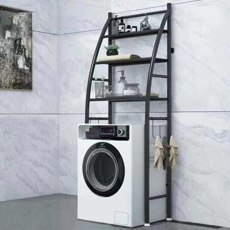 3 szintes fém fürdőszobai polcrendszer mosógép fölé, fekete - 166 cm (vitorla)