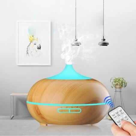 Fa hatású távirányítós óriás aromaterápiás párologtató, ultrahangos párásító, illatosító, 550 ml - gejzír
