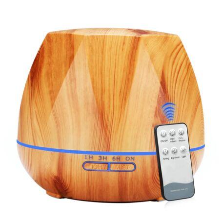 Fa hatású távirányítós óriás aromaterápiás párologtató, ultrahangos párásító, illatosító, 550 ml - bástya