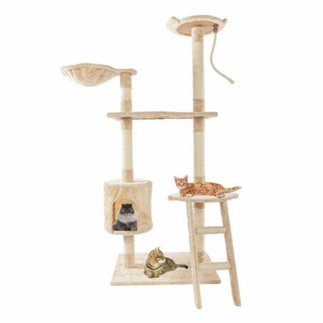 Macskafa, 6 szintes macska mászóka, kaparófa bézs színben - 150 cm