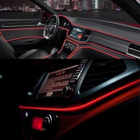 Piros autós beltéri dekorációs világítás, ambient light, hangulatfény, elektrolumineszcenciás lámpa, 3.5 méter