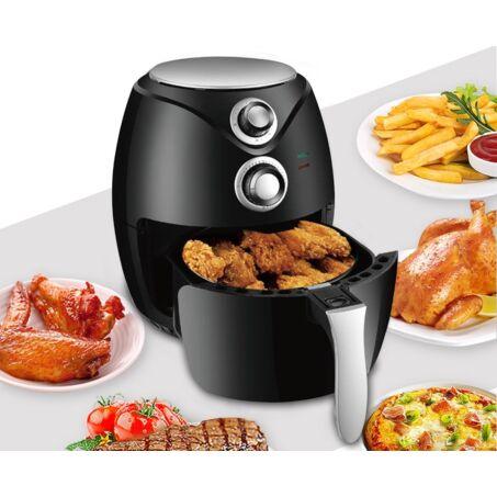 Elite® olaj nélküli forró levegős fritőz 1400W, 3 l kapacitással - fekete + receptkönyv