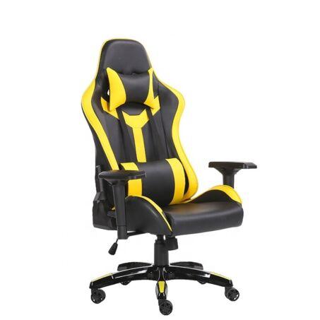Értékcsökkent - Gamer szék fej-és derékpárnával, állítható kartámasszal sárga-fekete színben