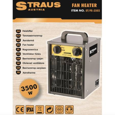 Straus hősugárzó, hordozható ventilátoros fűtőtest, 3500W
