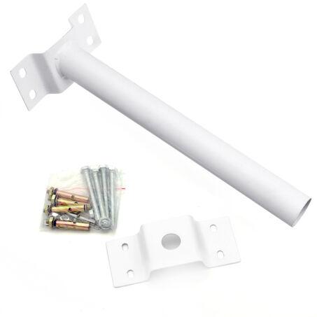 Fali acél tartókonzol és rögzítő készlet utcai és udvari napelemes lámpákhoz - fehér