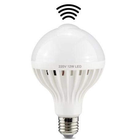 Mozgásérzékelős 12W LED izzó E27 foglalattal, 6500 Kelvin