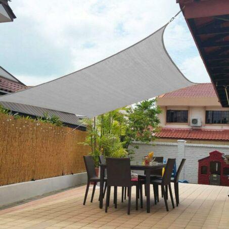 Értékcsökkent - Napvitorla - árnyékoló teraszra, erkélyre és kertbe szögletes 2x3 m grafitszürke színben - HDPE masszív anyagból