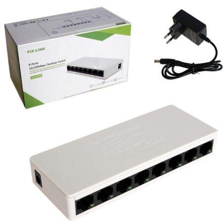 Pix-Link 8 portos asztali hálózati elosztó, switch