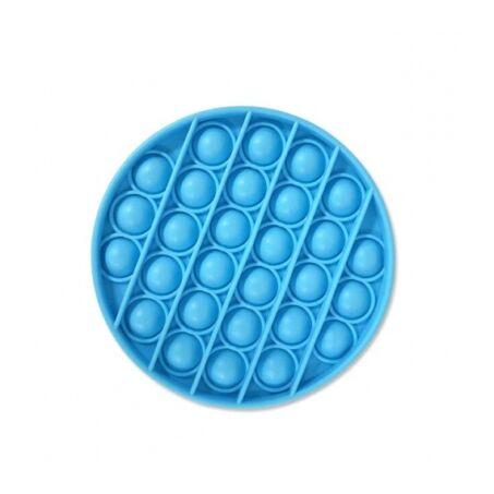Pop It stresszoldó szilikon buborékpukkantós játék, kerek, kék színű