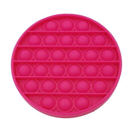 Pop It stresszoldó szilikon buborékpukkantós játék, kerek, piros színű