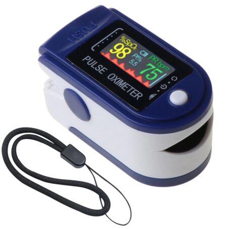 Hordozható digitális pulzoximéter, véroxigénmérő, pulzusmérő színes kijelzővel