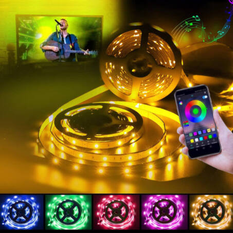 Smart RGB LED szalag készlet bluetooth és wifi kapcsolattal, távirányítóval, 20 méter