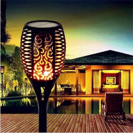 Napelemes, lángokat imitáló LED fáklya, talajba szúrható szolár lámpa